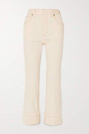 High-rise Straight-leg Jeans - Ivory