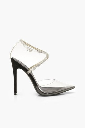Embellished Ankle Strap Clear Courts | Boohoo black