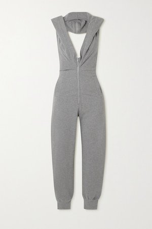 Jog Cropped Hooded Open-back Stretch-jersey Jumpsuit - Gray