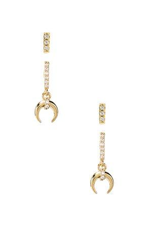 Petite Tusk Pave Earring Set