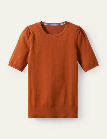 Cotton Crew Knitted Top - Rust