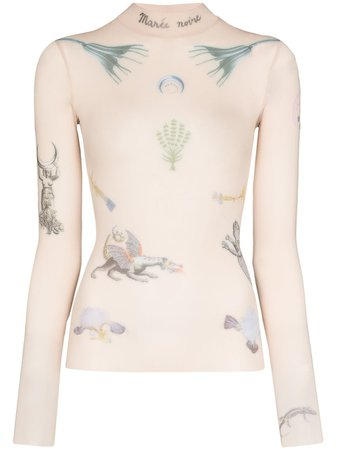 Marine Serre Tattoo Print Mock Neck Top - Farfetch