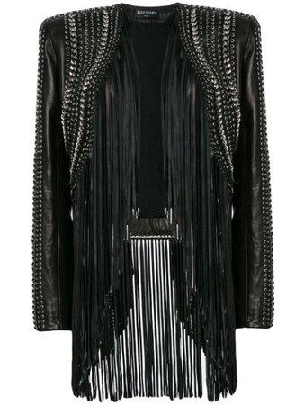 Balmain Cropped Fringe Leather Jacket - Farfetch