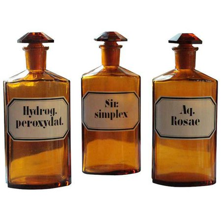 Antique Amber Glass Apothecary Pharmacy Bottles : English And French Country Antiques | Ruby Lane