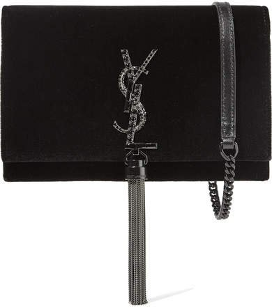 Monogramme Kate Medium Velvet Shoulder Bag - Black