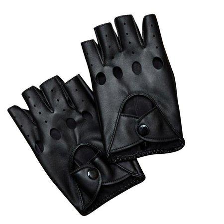 women's black leather fingerless gloves