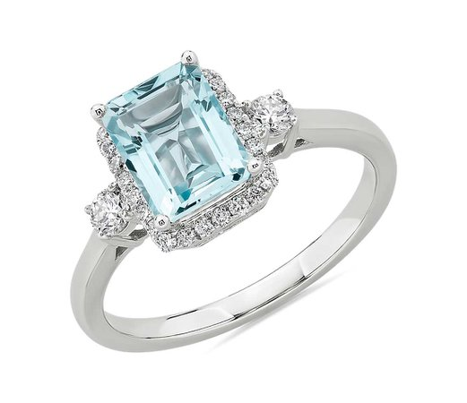 Aquamarine Ring with Diamond Halo in 14k White Gold | Blue Nile