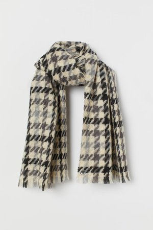 Patterned Scarf - Gray/houndstooth-patterned - Ladies | H&M US