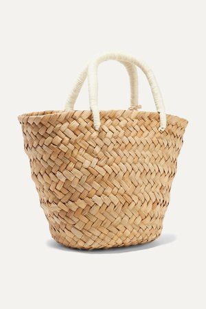 Sand St Tropez mini pompom-embellished embroidered woven straw tote | Kayu | NET-A-PORTER