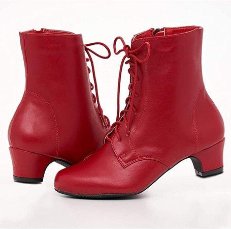 Amazon.com | Angel Flex AmeriMark Jada Lace Up Ankle Boots - Low Heeled Boots for Women Purple 9 Medium US Women | Ankle & Bootie