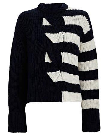 Monse Striped Cable Knit Merino Wool Sweater | INTERMIX®