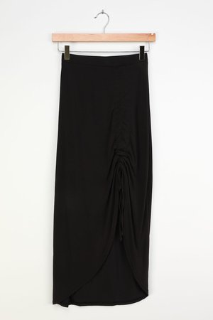 Black Midi Skirt - Jersey Midi Skirt - Ruched Midi Skirt - Lulus