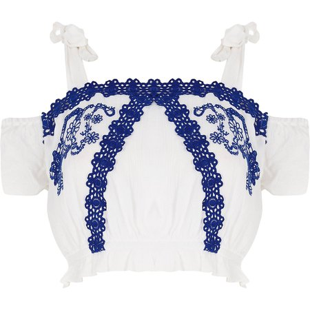 White broderie cold shoulder beach crop top | River Island