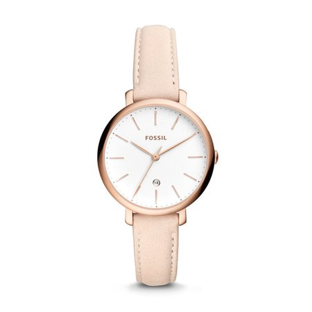 Jacqueline Three-Hand Date Pastel Pink Leather Watch - Fossil