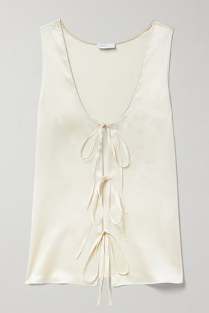 Tie-detailed Silk-satin Tank - Ivory