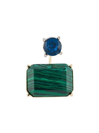 Acne Studios Stone-Embellished Front-Back Earring C50097 Green | Farfetch
