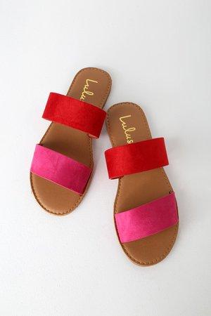 Cute Red Fuchsia Sandals - Slide Sandals - Flat Sandals - Slides