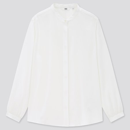 WOMEN RAYON BAND COLLAR LONG-SLEEVE BLOUSE | UNIQLO US white