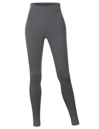 LE3NO Womens Cotton Jersey High Waist Fold Over Ankle Length Yoga Legging Pants | LE3NO grey