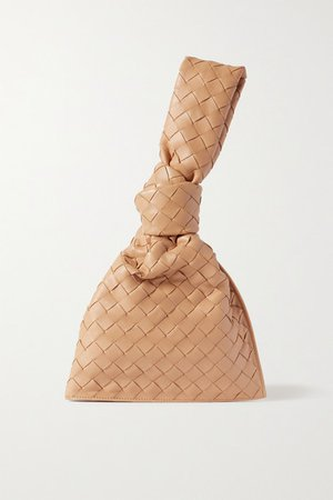 The Mini Twist Knotted Intrecciato Leather Clutch - Beige