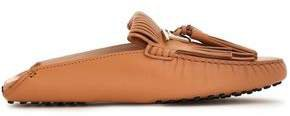 Fringed Leather Collapsible-heel Loafers