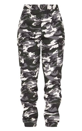 Grey Camo Print Cargo Pants | PrettyLittleThing USA