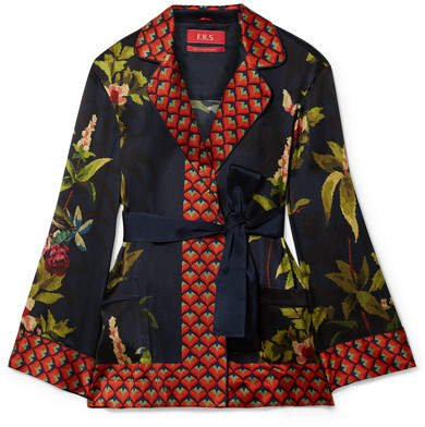 F.R.S For Restless Sleepers - Giocasta Printed Silk Wrap Top - Navy