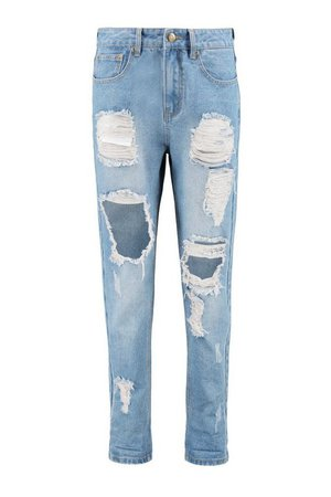 High Waist Light Wash Distress Mom Jeans | Boohoo