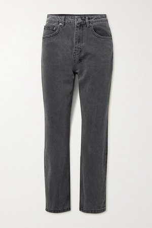 Chlo Wasted Cropped High-rise Straight-leg Jeans - Anthracite