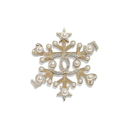 Metal, Glass Pearls & Strass Gold, Pearly White & Crystal Brooch | CHANEL