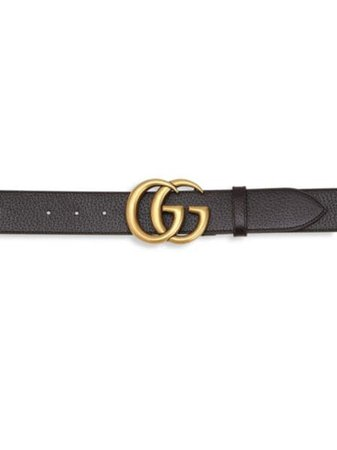 Gucci - Leather Belt with Double G Buckle - saks.com