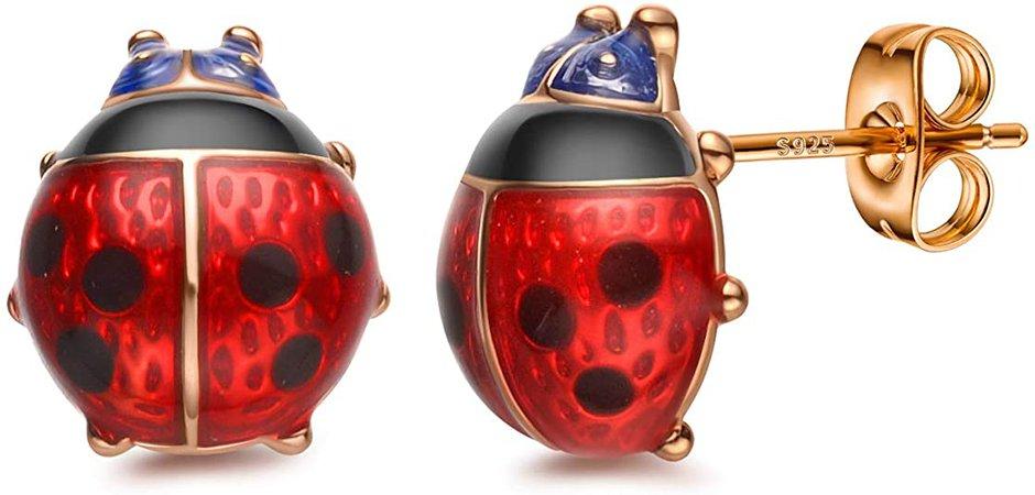 Amazon.com: Stud Earrings, Red Ladybug Black Spots 18K Gold Plated 925 Sterling Silver Post Rose Flower Stud Earrings for Women Girl: Jewelry
