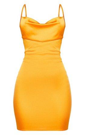 Golden Orange Satin Cowl Lace Up Bodycon Dress | PrettyLittleThing USA