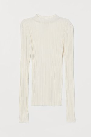Ribbed Mock-turtleneck Sweater - White - Ladies | H&M US