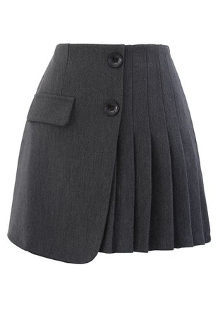 Buttoned Flap Pleated Mini Skirt in Grey - Retro, Indie and Unique Fashion