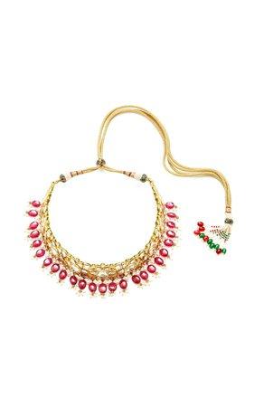 Sanjay Kasliwal Raj 22kt Gold Diamond Ruby and Pearl Choker