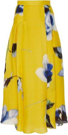 Carolina Herrera Pleated Floral-Print Silk Skirt Size: 0