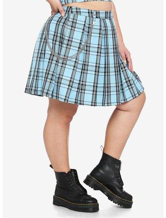 Light Blue Plaid Pleated Chain Skirt Plus Size