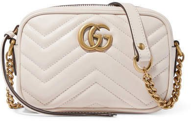 Gg Marmont Camera Small Quilted Leather Shoulder Bag - White