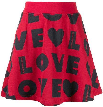 repeat logo print skirt