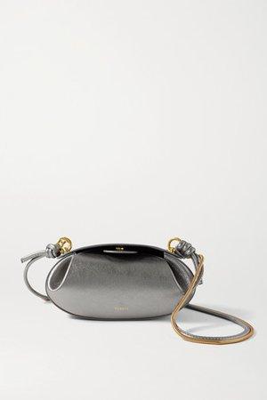 Dinner Roll Metallic Leather Shoulder Bag - Silver