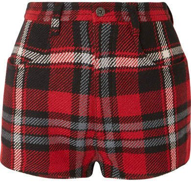 Tartan Wool Shorts - Red
