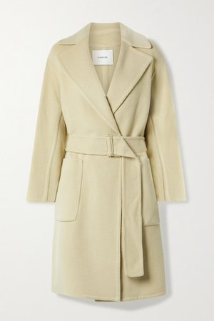 Belted Brushed Wool-blend Coat - Beige