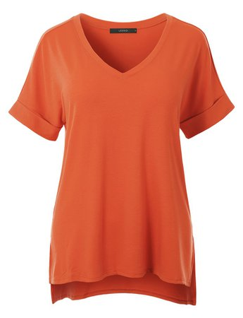 LE3NO Womens Casual Loose Fit V-Neck Short Sleeve Stretchy Tunic Top | LE3NO orange