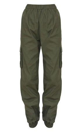 Khaki Pocket Detail Cargo Trousers | Trousers | PrettyLittleThing USA