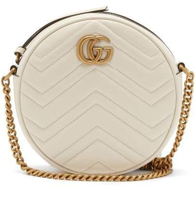 Gg Marmont Circular Leather Cross Body Bag - Womens - White