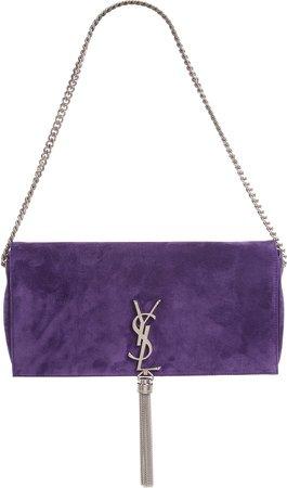 Kate Calfskin Suede Baguette Shoulder Bag