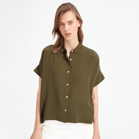 Women's Clean Silk Short-Sleeve Square Shirt   Everlane