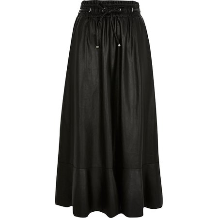 Black faux leather midi skirt | River Island