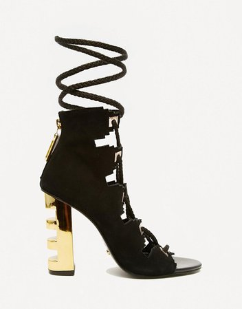 Kat Maconie Betsy Black & Gold Ghillie Multi Lace Heeled Sandals | ASOS